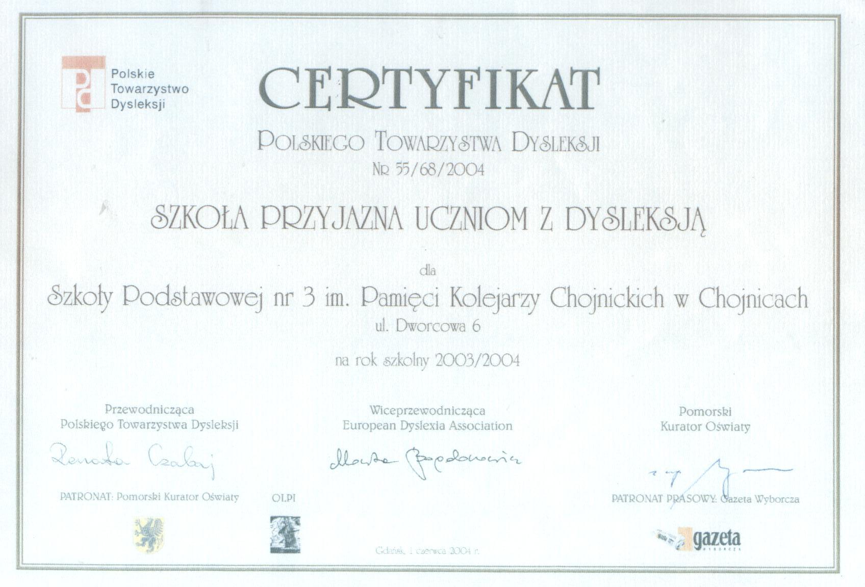 certyfikat szkoly