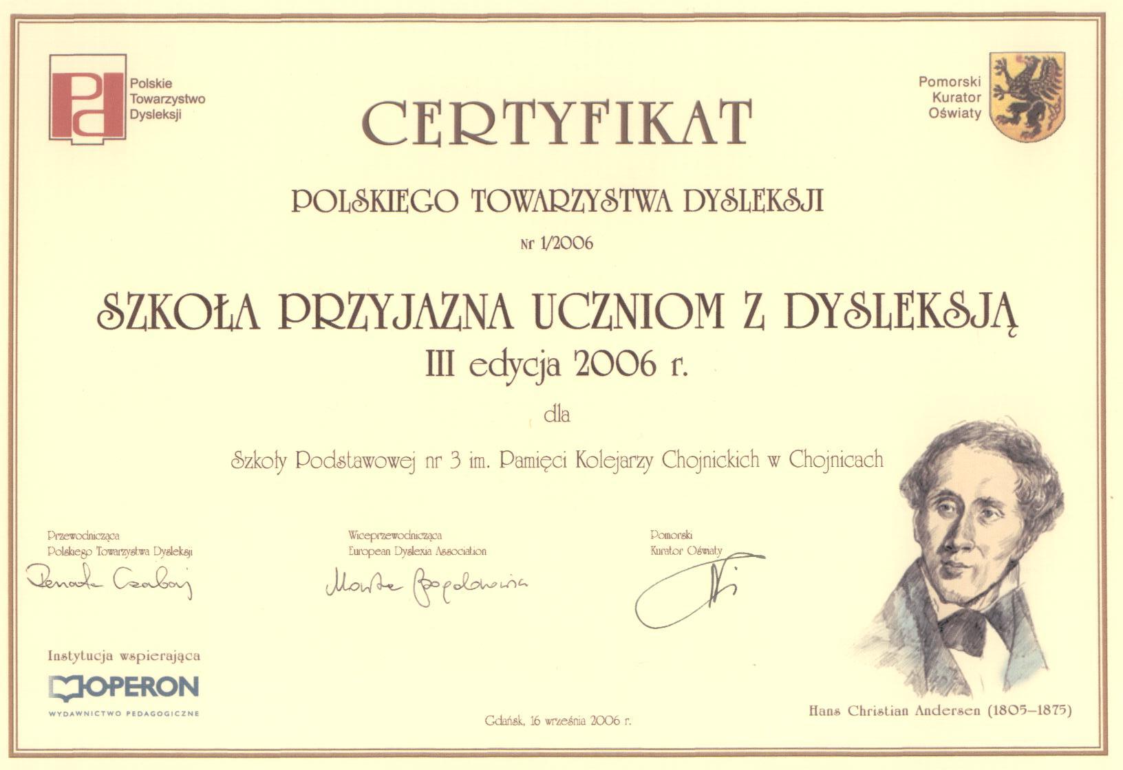 certyfikat szko�y przyjaznej  ...